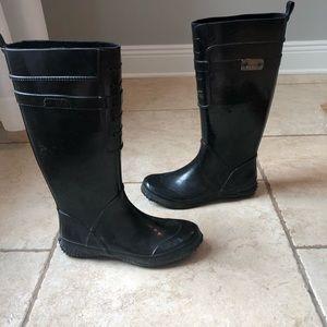 Women's black Nine West rain boots